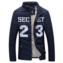 2016 new printed 23 men keep warm with thick cotton-padded clothes coat collar cultivate one's morality
