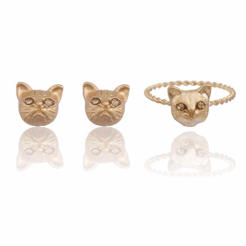 แมวเปอร์เซียเครื่องประดับชุดผู้หญิงน่ารักแมว Stud ต่างหูสำหรับสาวทองเงินโลหะสีดำคริสตัลแมวแหวนคริสต์มาส Xmas