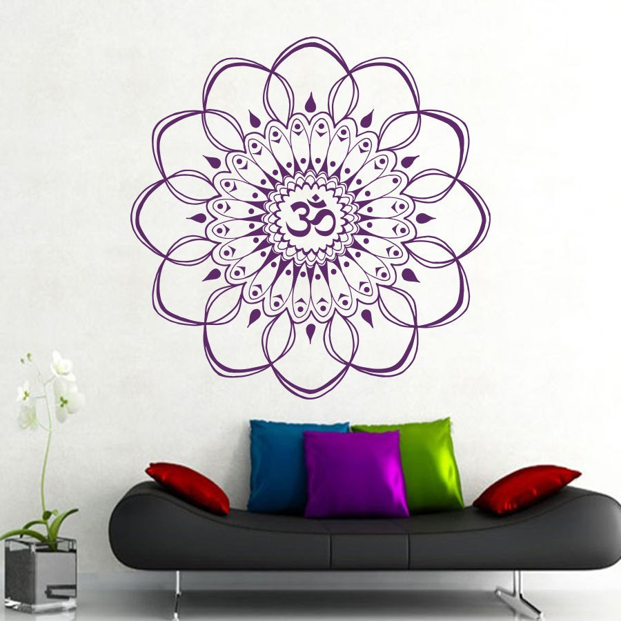 Bohe Mandala Flower Wall Paper Decor Yoga Studio Vinyl: Mandala Meditation Vinyl Wall Stickers Flower Art Religion