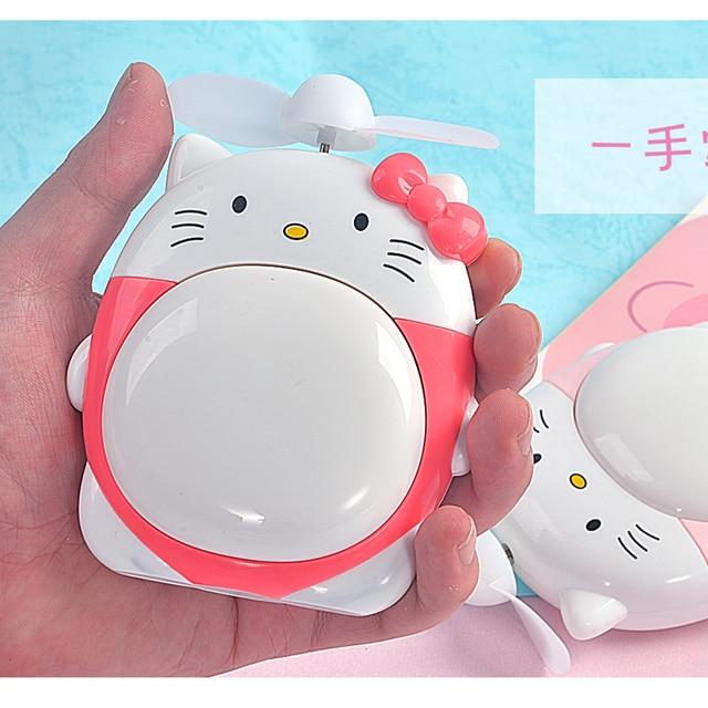 582454181 Hello Kitty Hand fan Cooling USB Rechargeable Fan 40mm Portable Mini  Electric Fan Nightlight Lamp 2 In 1 Cartoon Creative Design