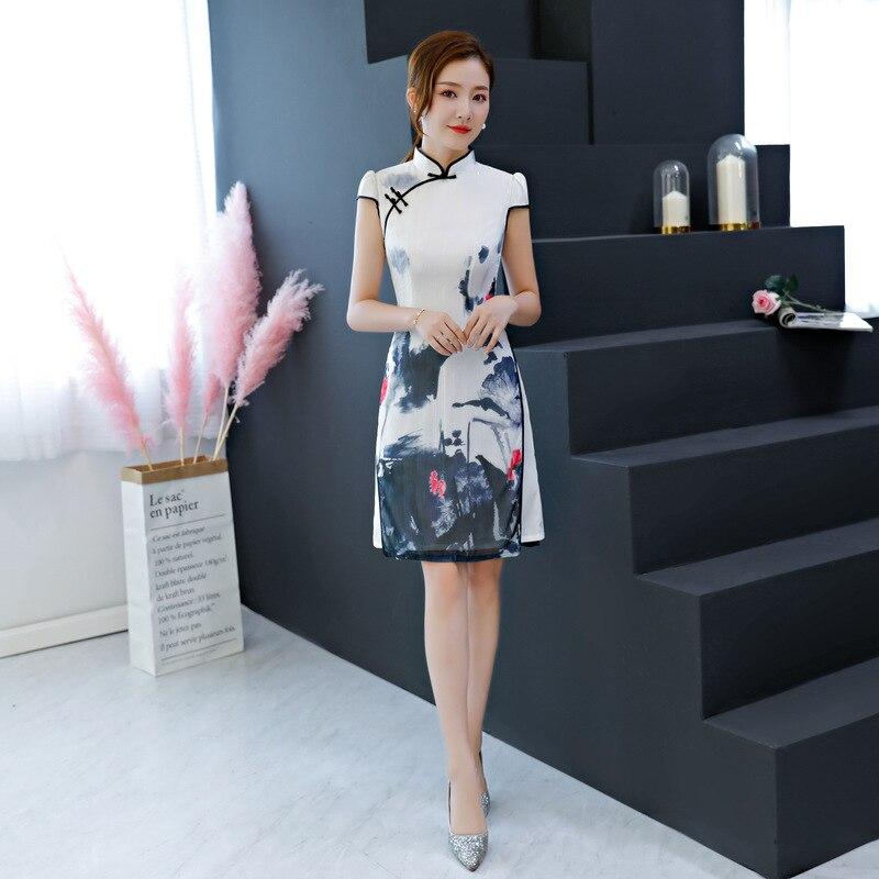 Sexy Slim Improved Vietnam Aodai Cheongsam Female Print Qipao NEW Chinese Classic Dress Slim Vestidos M 3XL