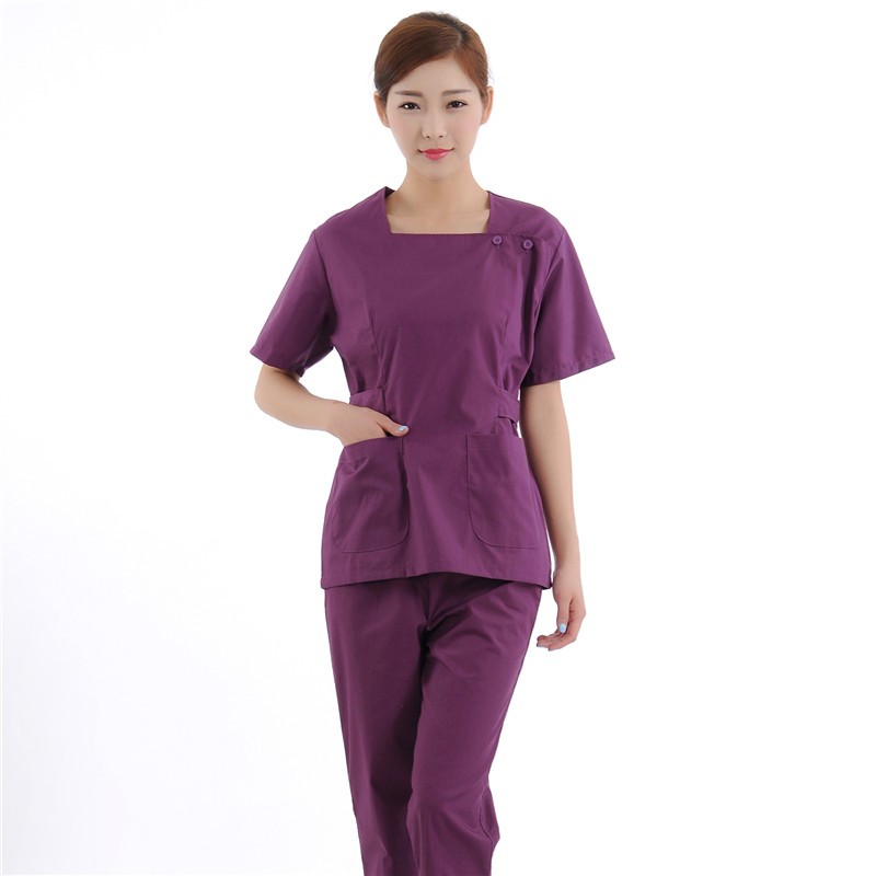summer short-sleeved surgical clothing men and women doctors suits split brush suit white suit Two color nine discount