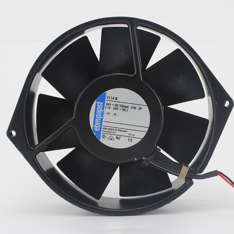 Original papst 7114N 7114 N 150x38mm DC 24V 0.5A 12W 212CFM server inverter Inverter axial cooling fan original 12cm 24v 2 40a pfb1224uhe three line violent inverter cooling fan