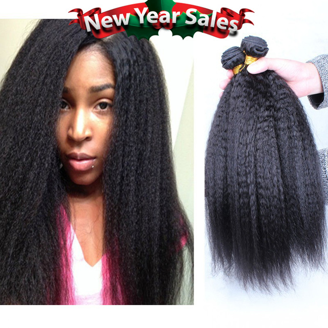 8a Peruvian Virgin Hair Kinky Straight Human Hair Weaves 3pcs Lot