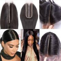 Natural Color Peruvian Human Hair Straight 2*6 Transparent Lace Closure Free Part Remy Hair Lace Closure Pre Plucked 8 20 Inches