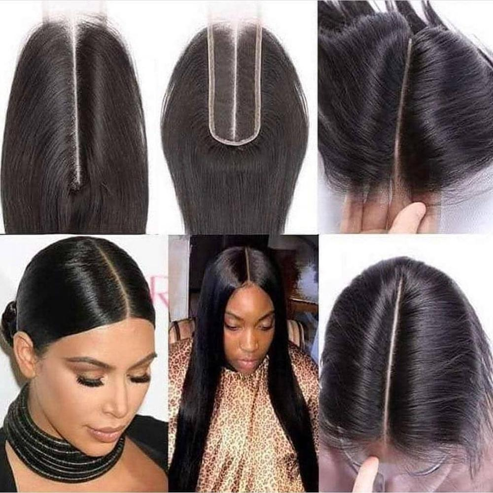 Peruvian Human Hair Straight 2*6 Light Brown Lace Closure Free Part Remy Hair Lace Closure Pre Plucked 8-20 Inches Natural Color