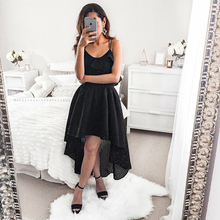 Bbonlinedress Elegant Black Color Homecoming Dresses 2019 Sexy Spaghetti Straps Prom Dress High-Low Party with Ruffles