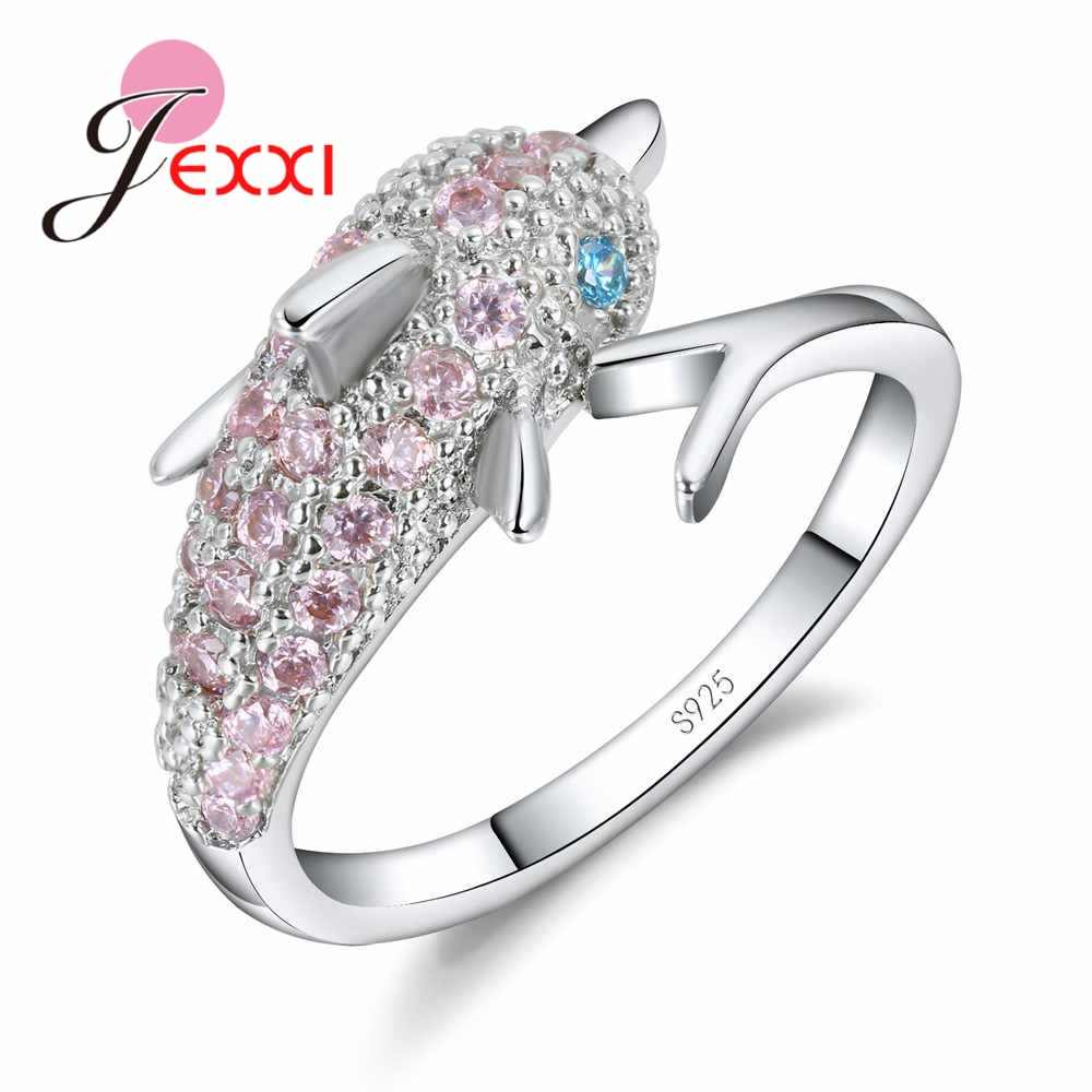 Lovly Dolphin Ring Sparkling 925 Sterling Silver Cubic Zircon Crystal Women Girls Engagement Wedding Party Gift Bijoux