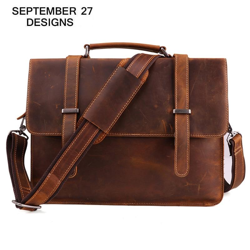Genuine Leather Men Briefcase Bags Crazy Horse Leather Large Capacity Laptop Bag Vintage Male Business Shoulder Crossbody Bag