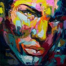 Palette knife painting portrait Face Oil Impasto figure on canvas Hand painted Francoise Nielly 13-22