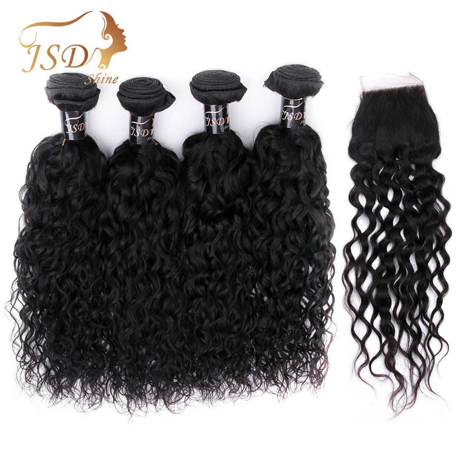 JSDshine бразильские пучки волос плетение с закрытием волна воды человеческие волосы пучки с закрытием натуральный цвет не Реми
