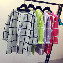 2017 Spring Autumn Casual Pocket Plaid Cardigans Outwear Women Long Cardigan Sweaters Loose Long Sleeve Knitting Sweater Coat