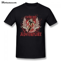 Summer Men Motor Competition Motocross Extreme Adventure Printed Short Sleeve Crewneck 100 Cotton Tees Shirt Top