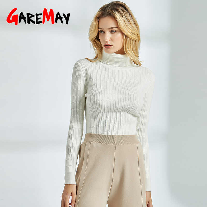 GareMay White Knit Sweater Female Turtleneck Sweaters for Women Long Sleeve Autumn Winter Jumper Ribbed Sweater Women Classic