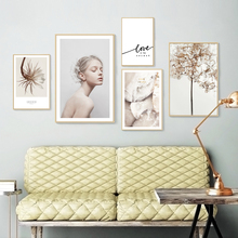Nordic Art small Fresh Figure Flower English Canvas Abstract Painting Print Poster Picture Wall Home Decoration