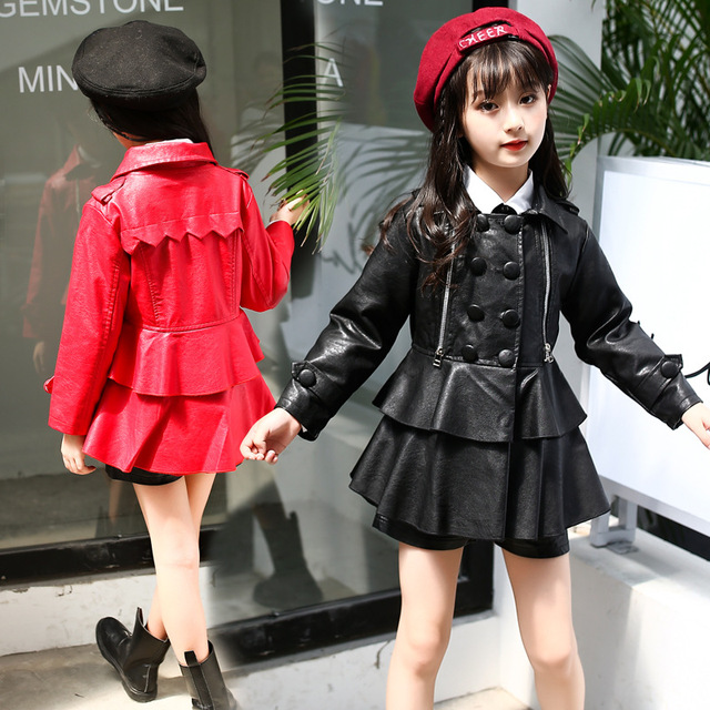 Fashion Kids Leather Jacket Girls Pu Jacket Children Leather Outwear