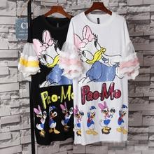 Women Fashion Cartoon Duck Printed Sequins T-Shirt Dress Short Sleeve Loose Casual Dress Street Wear Mid Long Ruffle Sleeve Dres