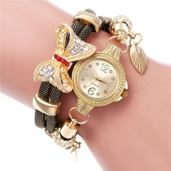 Hot selling retro bracelet watch women high quality exquisite bow-knot leave pendant quartz relogio feminino reloj mujer watches