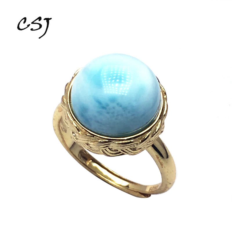 CSJ Fine Jewelry Real Natural Blue Larimar Ring 925 Sterling Silver Gemstone Round 12MM Wedding Engagement Bands for Women GiftCSJ Fine Jewelry Real Natural Blue Larimar Ring 925 Sterling Silver Gemstone Round 12MM Wedding Engagement Bands for Women Gift