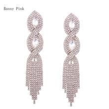 Chunky Rhinestone Statement Studs Earrings For Women Luxury Crystal Tassel Pendant Post Earring Fashion Bridal Jewelry Pendiente