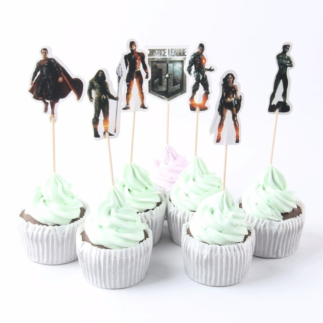 24 Pcs Lot Baby Shower Justice League Cupcake Toppers Superman
