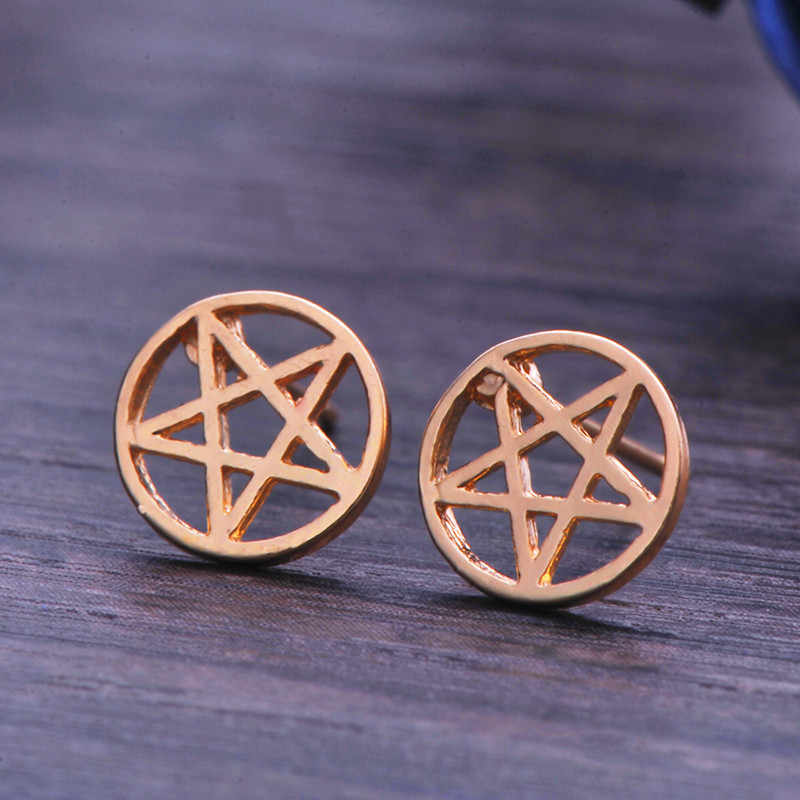 2019 Gold Color Fashion Earring for Women Stainless Steel Earring Cubic star Jewelry Geometric Pentagram wholesale