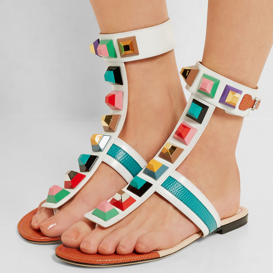 Multicolor Rivets Embellished Leather Thong Sandals Flats Casual Beach Shoes Woman Flip Flops Ankle Strappy Gladiator Sandals