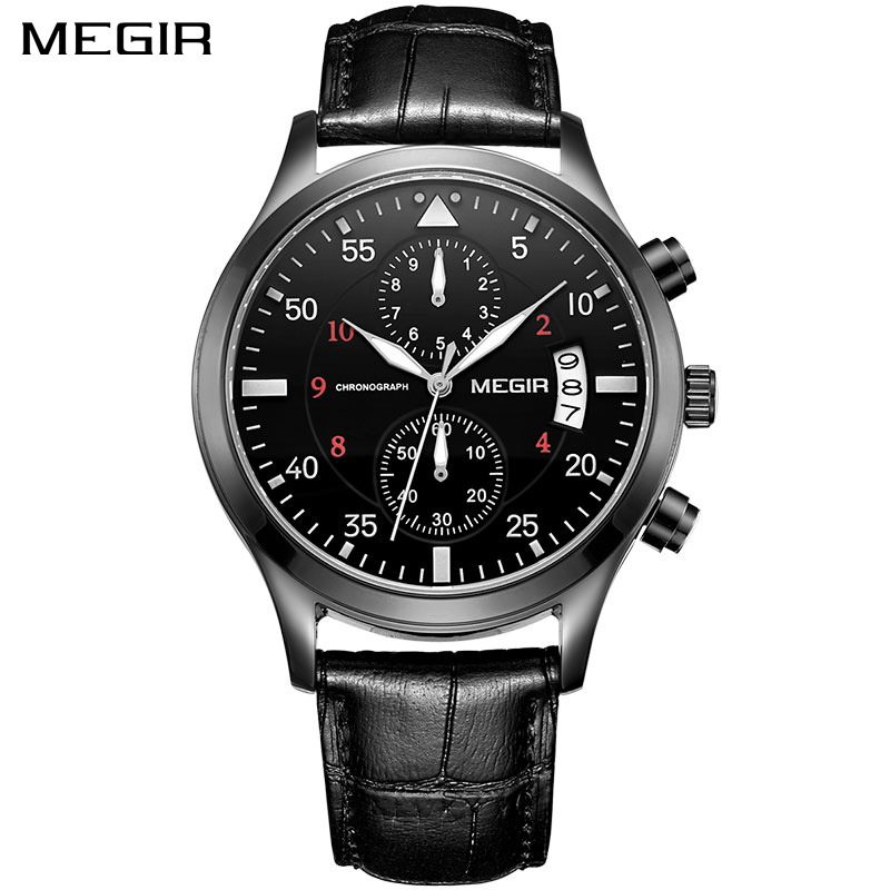 MEGIR Original Men Business Watch Top Brand Luxury Leather Army Military Watch Male Quartz Wrist Watches Relogio Masculino 2021