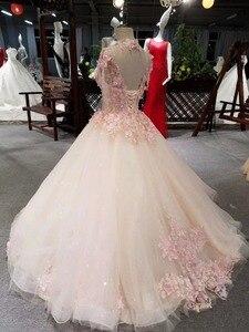 Image 2 - CloverBridal bestsellerem lista alibaba sklep detaliczny suknia dla panny młodej księżniczka piętro długość różowe liście kryształowe frędzle ramiona