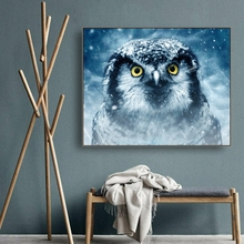 Ice Owl Animals Decor Wall Art Canvas Poster and Print Painting Decorative Picture for Living Room Bedroom Home