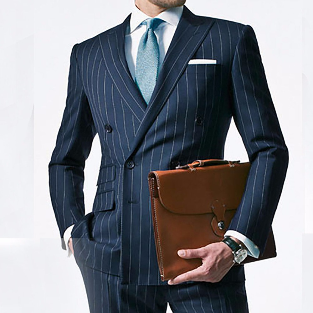 Chalk Stripe Men Suit Custom Made Navy Blue Mens Striped
