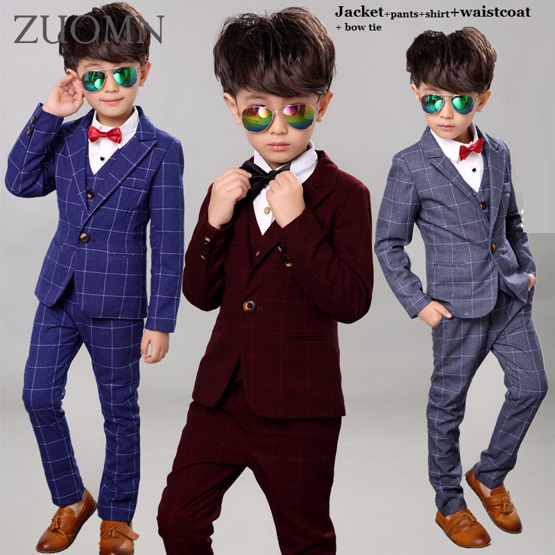 Kids Formal Party Wedding Dress Show Sets Boys Blazer Suits Waistcoat Trousers