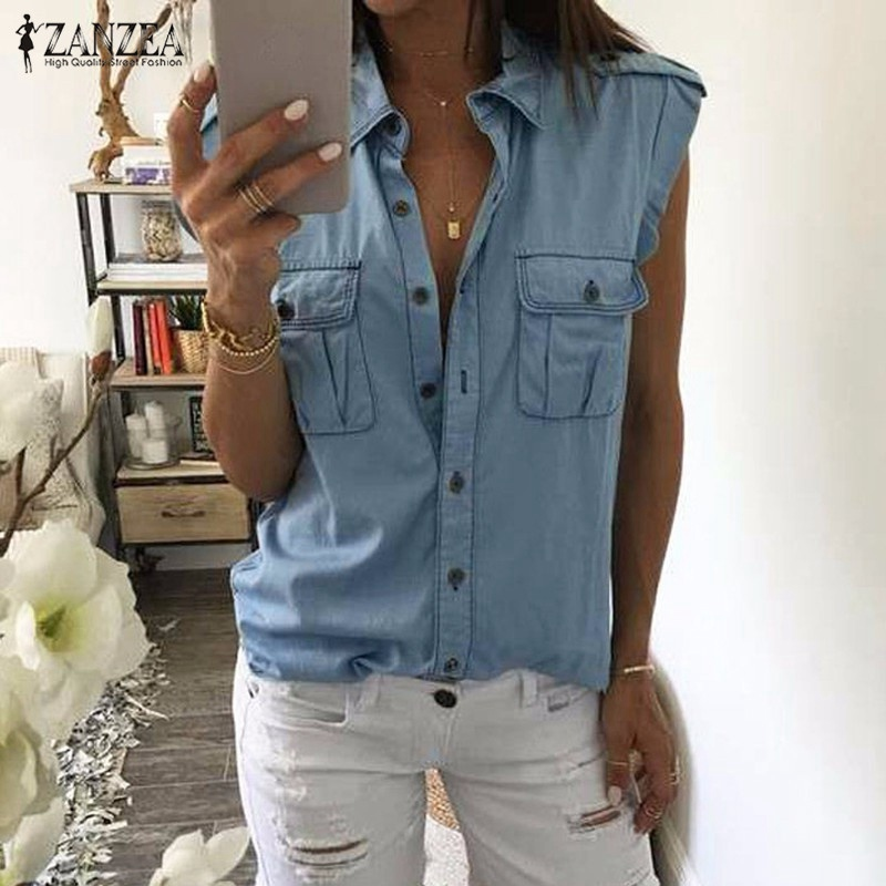 2016 Summer Women Fashion Vintage Buttons Pockets Blouses Sexy Sleeveless Jeans Denim Blue Shirts Female Casual Blusas Tops
