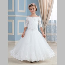 Princess Off The Shoulder White Flower Girls Dress With Half Sleeve Cheap 2017 First Communion Dresses For Girls Holy Party Gown