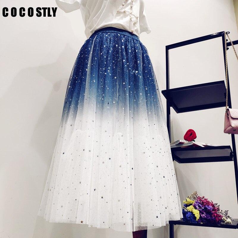 2020 Gradient Color Summer Tulle Skirt Women High Waist Pleated Long Skirt Female A-line White Pink Tutu Skirt