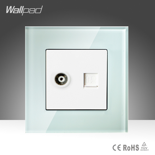 TV + Data Sokcet Wallpad White Tempered Glass RJ45 Computer Internet and Television Socket Jack Outlet Wall Socket Free Shipping 15a 16a south africa socket and double ubs socket wallpad 146 86mm white glass 2 usb ports and 16a sa switched socket with led