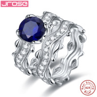 Jrose 100% Real 925 Sterling Silver Classic Couple A Pair Of Rings Fine Wedding Engagement Jewelry For Women Best Gifts