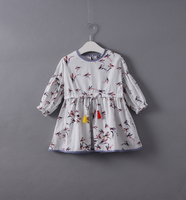 2017 Full Sleeve Autumn Princess Toddler Girls Bow Sashes Dress Character Birds Clothes Spring Kids Children