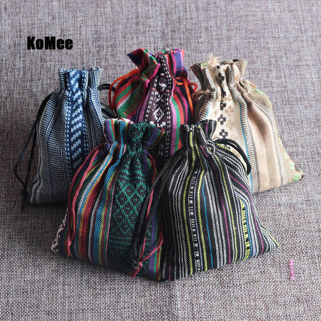 479aedba04 New Pouches 50Pcs Multi Colors Stripe Tribal Tribe Drawstring Jewelry Gift  Bags Cotton Cloth Chinese Ethnic