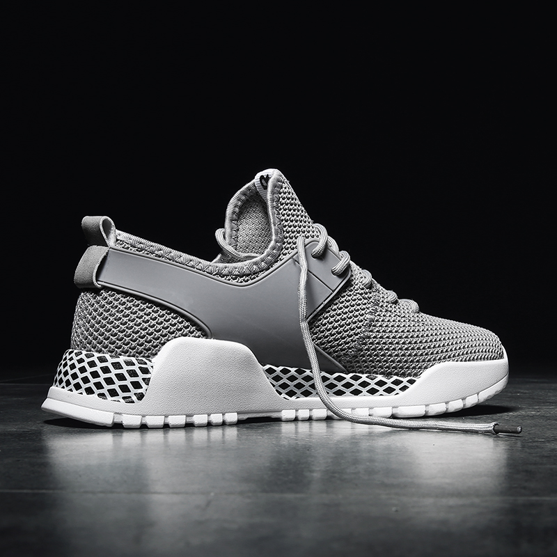 Hemmyi 2018 summer new brand mens sneakers breathable mesh high quality men casual shoes male shoes adult black gray white