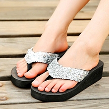 Hot Sale Flip Flops Sandales Summer Hot Women Platform Shoes Slippers Sequin Wedges Beach Women Platform Flip Flop Summer NX06