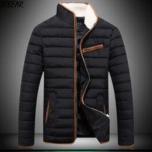 2016 Men's Slim Fit Quilted Jacket Coats for Autumn Winter Warm Puffer Jackets with Stand Faux Fur Lined Collar Plus Size M-3XL