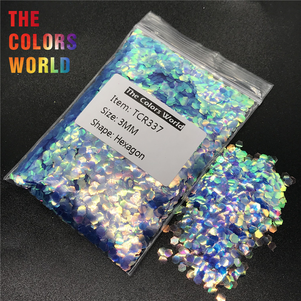 цены на TCR337 Iridescent Rainbow Cobalt Blue Hexagon Shape Nail Glitter Nail Art Decoration Face Glitter Makeup EyeShadow Handwork DIY