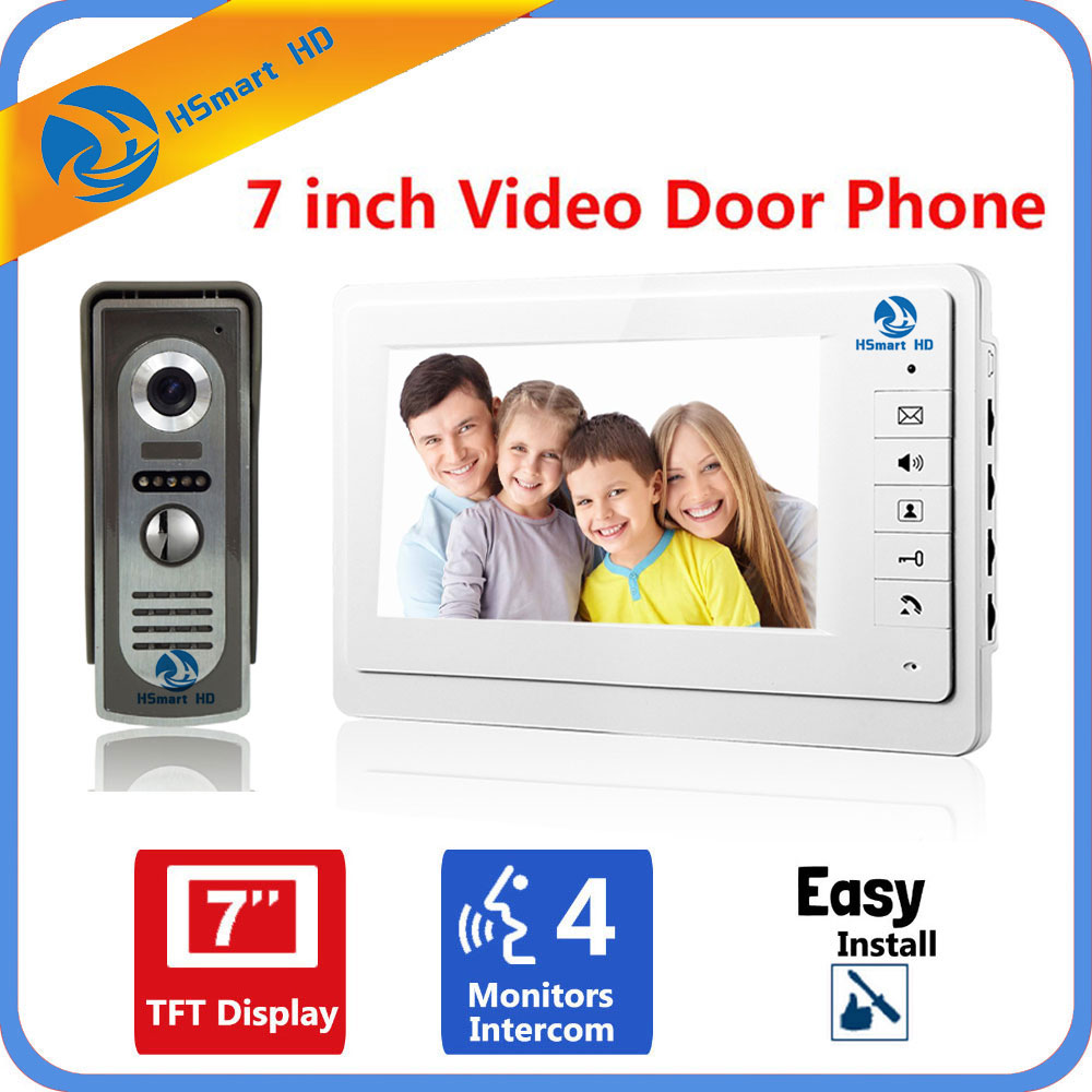 HSmart HD 7 inch Color LCD Screen Video Doorphone Doorbell Sperakerphone Video Intercom system Release Unlock for Private House 7 inch video doorbell tft lcd hd screen wired video doorphone for villa one monitor with one metal outdoor unit night vision
