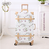 2018 NEW retro luggage rolling suitcase large suitcase brand leather lggage floral big suitcase travel luggage hard 24 spinner