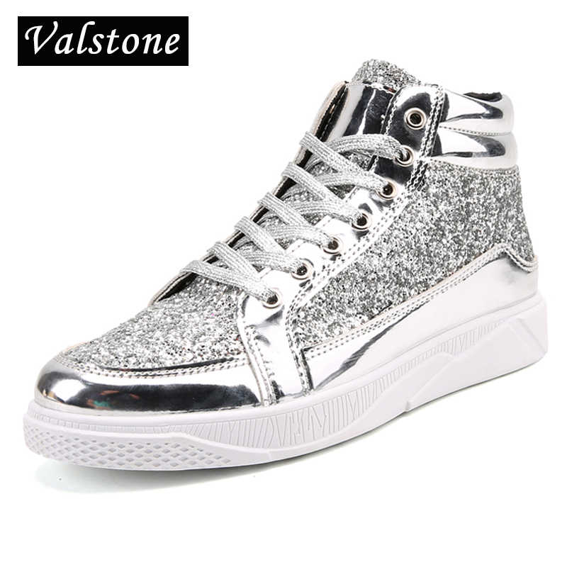 Valstone Hip Hop shoes Men leather casual sneakers Gold fashion sneakers  lace-up silver high af8e0bfb02b1
