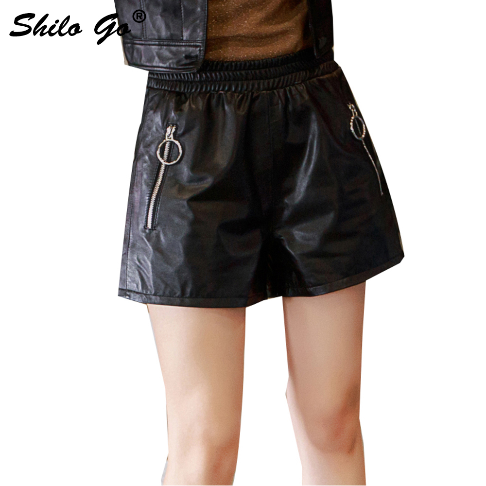 Leather Shorts Summer Spring Fashion Sheepskin Genuine Leather Shorts Stretch High Waist Round Metal Zipper Loose Short