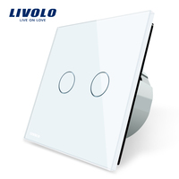 Livolo White Crystal Glass Switch Panel EU Standard 2 Gang 1 Way Switch VL C702 1