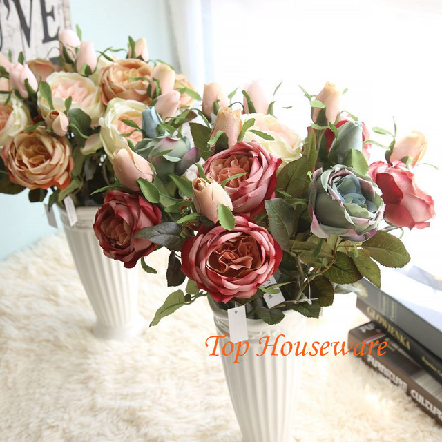 6Colors Silk Simulation Artificial flower European rose oil painting ...