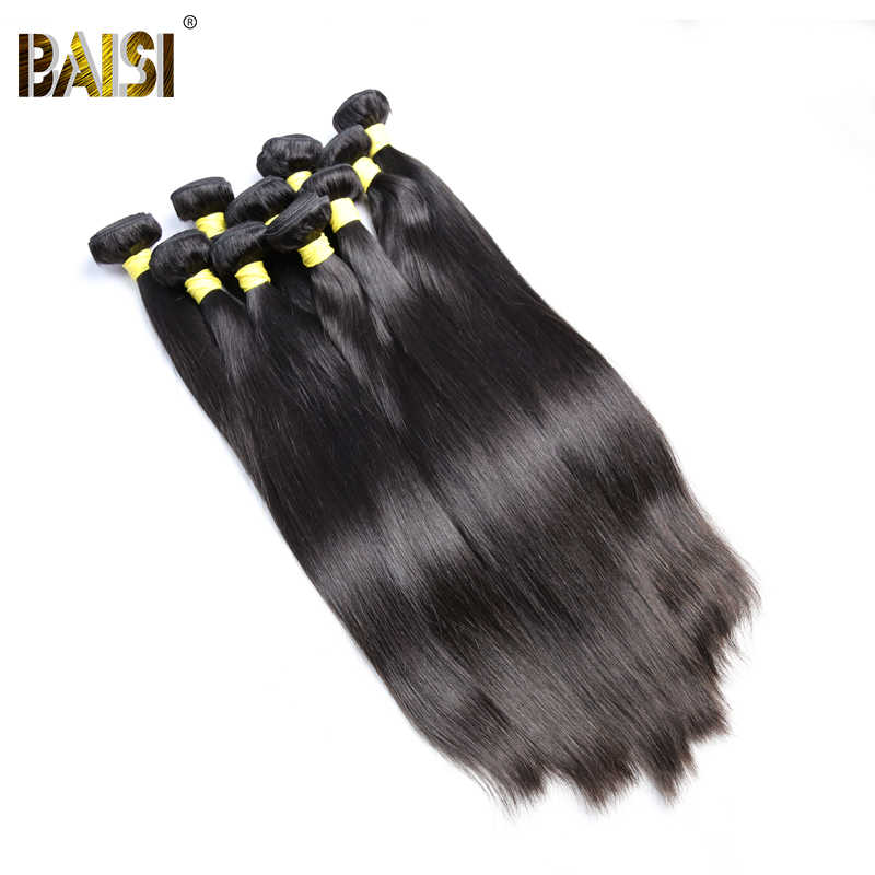 BAISI Hair 100% Unprocessed Peruvian Virgin Hair Straight Human Hair Bundles Wholesale 10 Bundles Deal